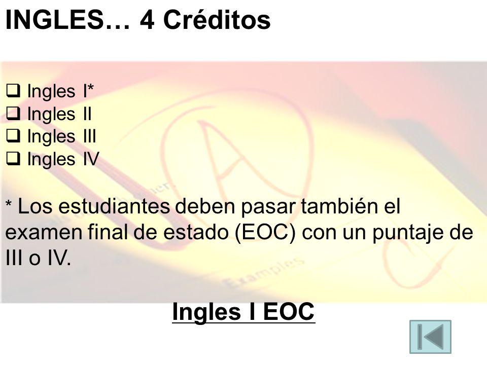 INGLES… 4 Créditos Ingles I* Ingles II Ingles III Ingles IV * Los estudiantes deben pasar también el examen final de estado (EOC) con un puntaje de III o IV.