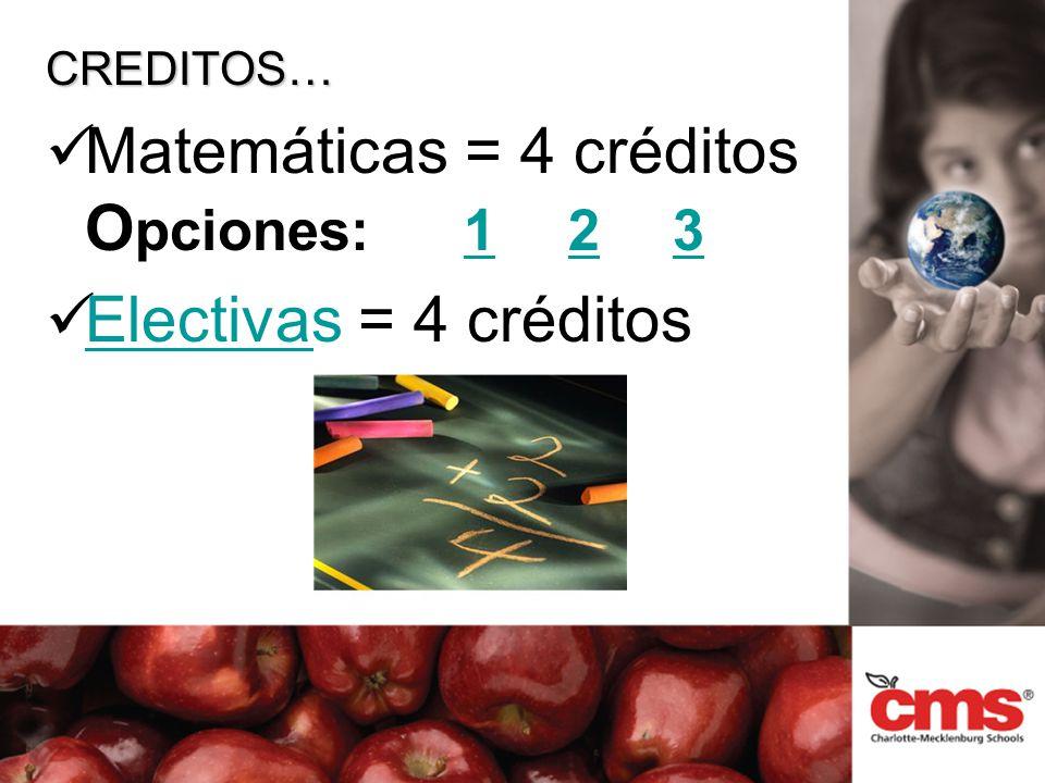 CREDITOS… Matemáticas = 4 créditos O pciones:123123 Electivas = 4 créditos Electivas