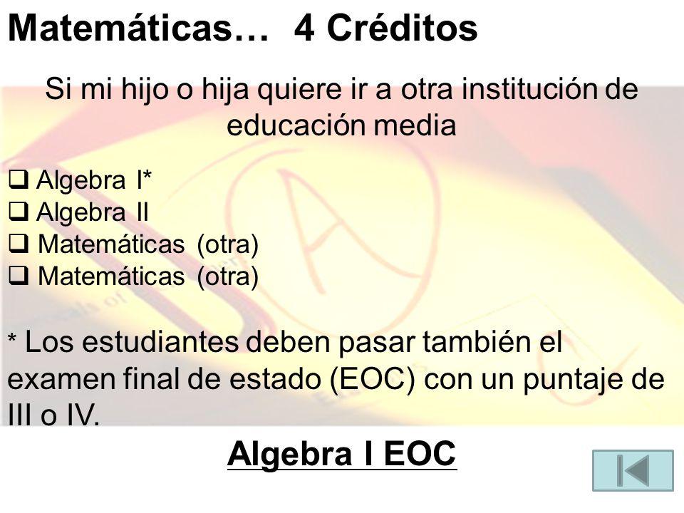 Matemáticas… 4 Créditos Si mi hijo o hija quiere ir a otra institución de educación media Algebra I* Algebra II Matemáticas (otra) * Los estudiantes deben pasar también el examen final de estado (EOC) con un puntaje de III o IV.
