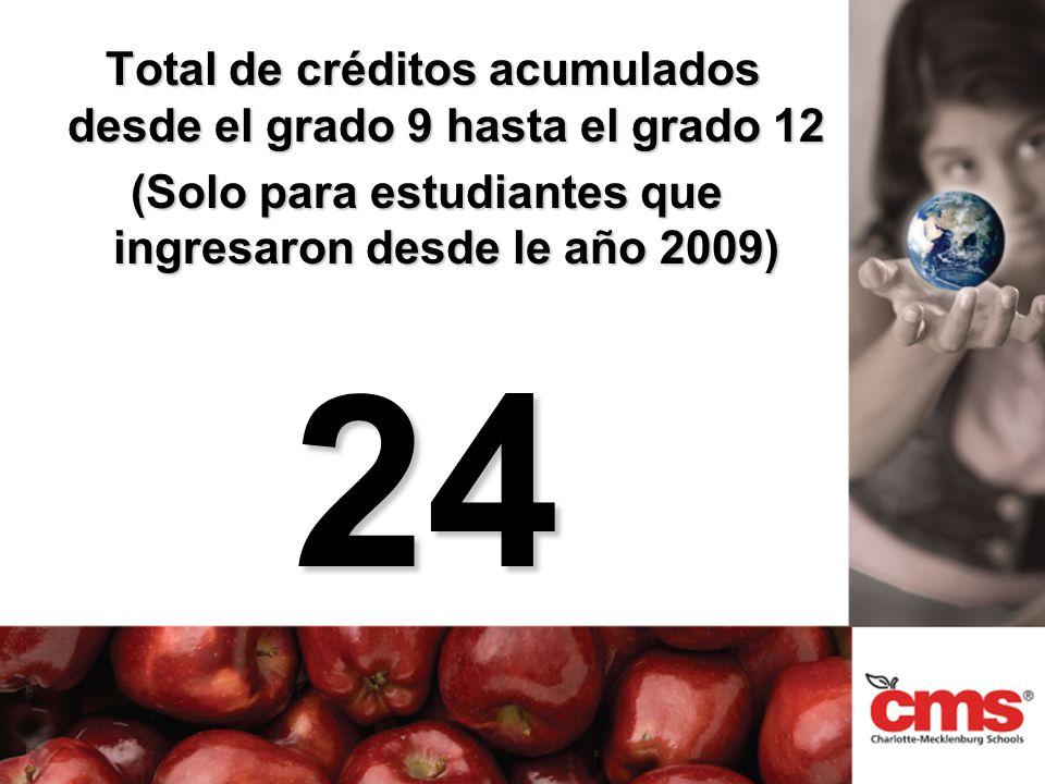 Total de créditos acumulados desde el grado 9 hasta el grado 12 Total de créditos acumulados desde el grado 9 hasta el grado 12 (Solo para estudiantes que ingresaron desde le año 2009) 24