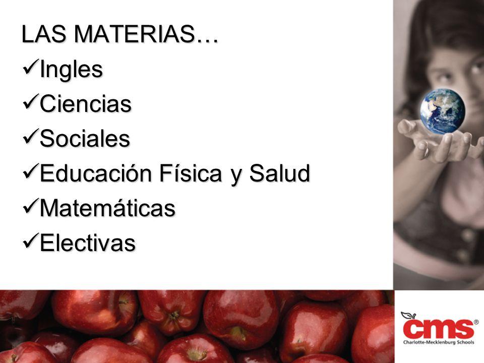 LAS MATERIAS… Ingles Ingles Ciencias Ciencias Sociales Sociales Educación Física y Salud Educación Física y Salud Matemáticas Matemáticas Electivas Electivas