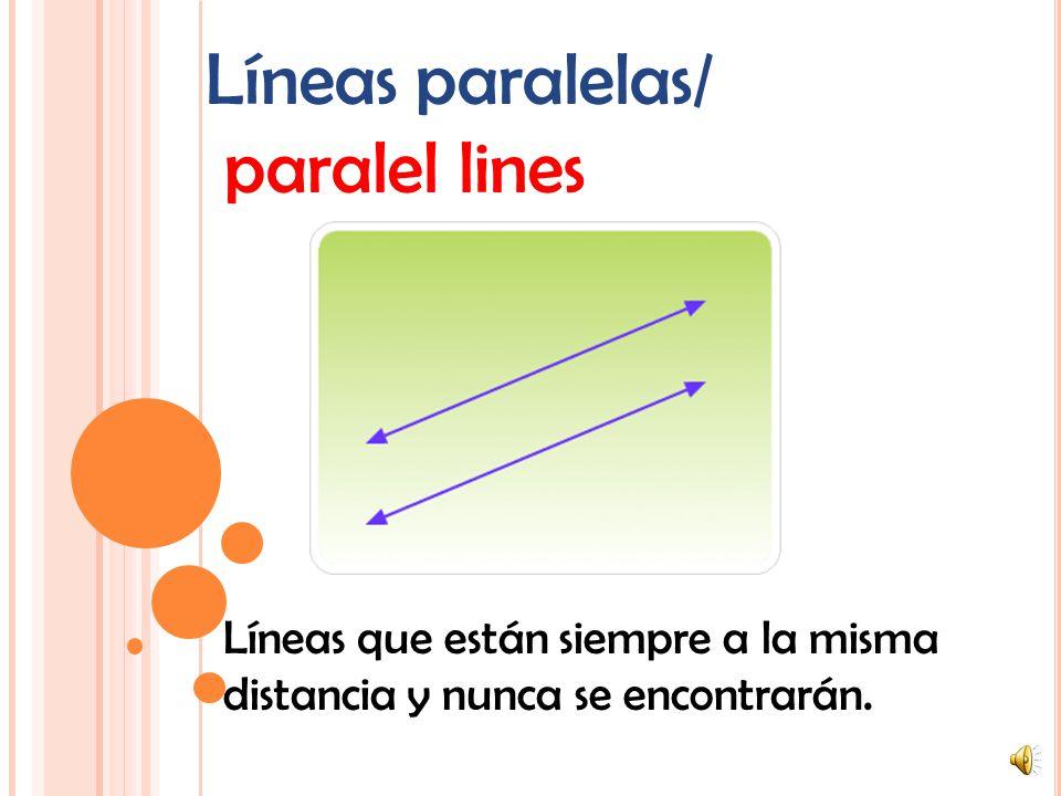 Líneas perpendiculares/ perpendicular lines Líneas que se encuentran en ángulos rectos. (90°)