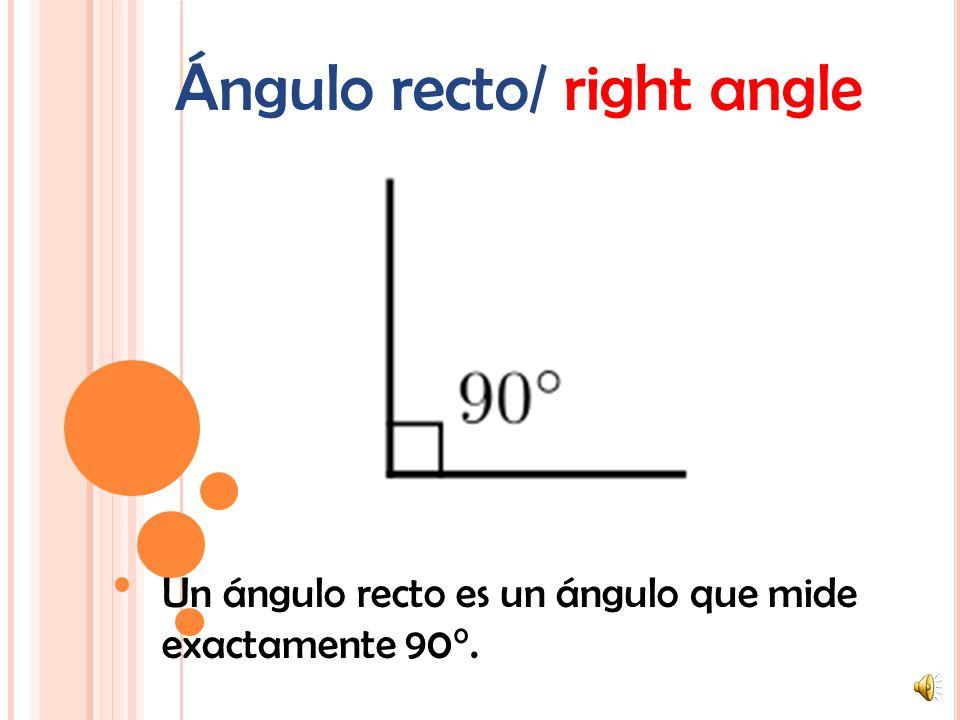 Ángulo agudo/ acute angle Un ángulo agudo es un ángulo que mide menos de 90°