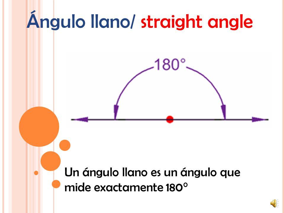 Ángulo obtuso/ obtuse angle Un ángulo obtuso es un ángulo que mide más de 90° pero menos de 180°