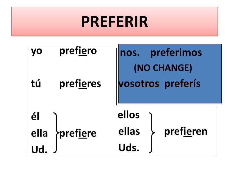 PREFERIR In PREFERIR, its the second E that changes from e > ie. PREFERIR In PREFERIR, its the second E that changes from e > ie. PREFERIR