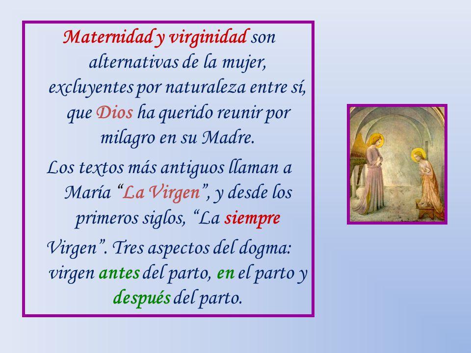 Maternidad y virginidad son alternativas de la mujer, excluyentes por naturaleza entre sí, que Dios ha querido reunir por milagro en su Madre. Los tex