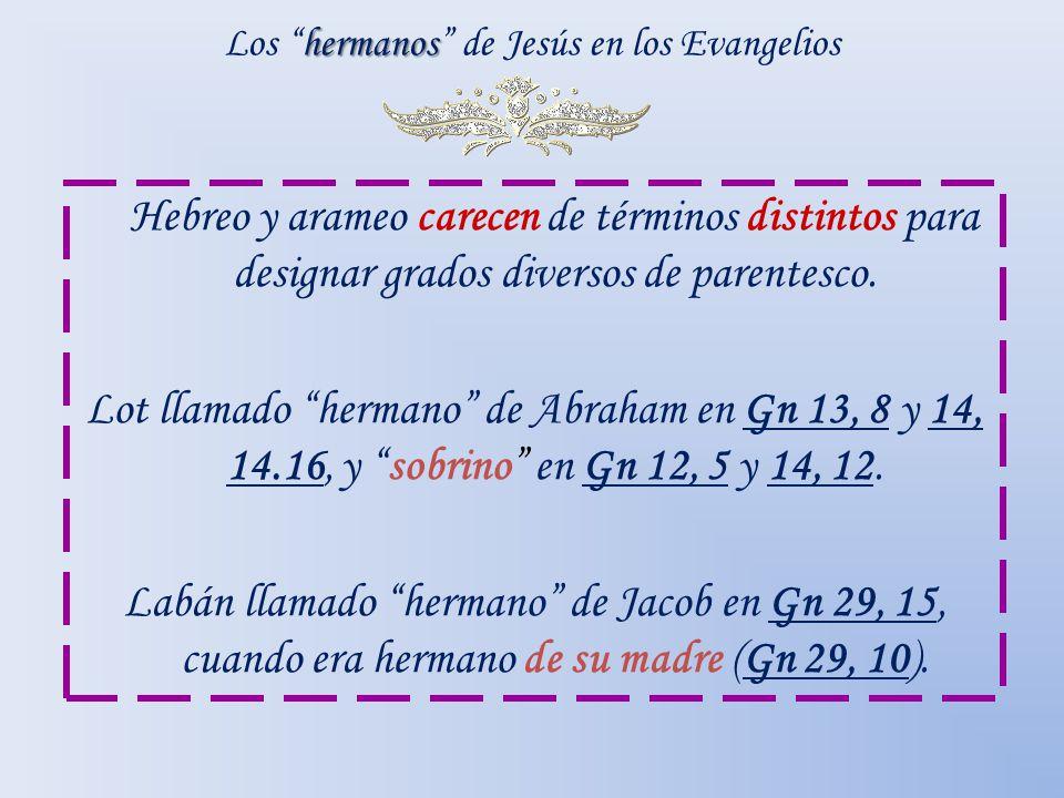 hermanos Los hermanos de Jesús en los Evangelios Hebreo y arameo carecen de términos distintos para designar grados diversos de parentesco. Lot llamad