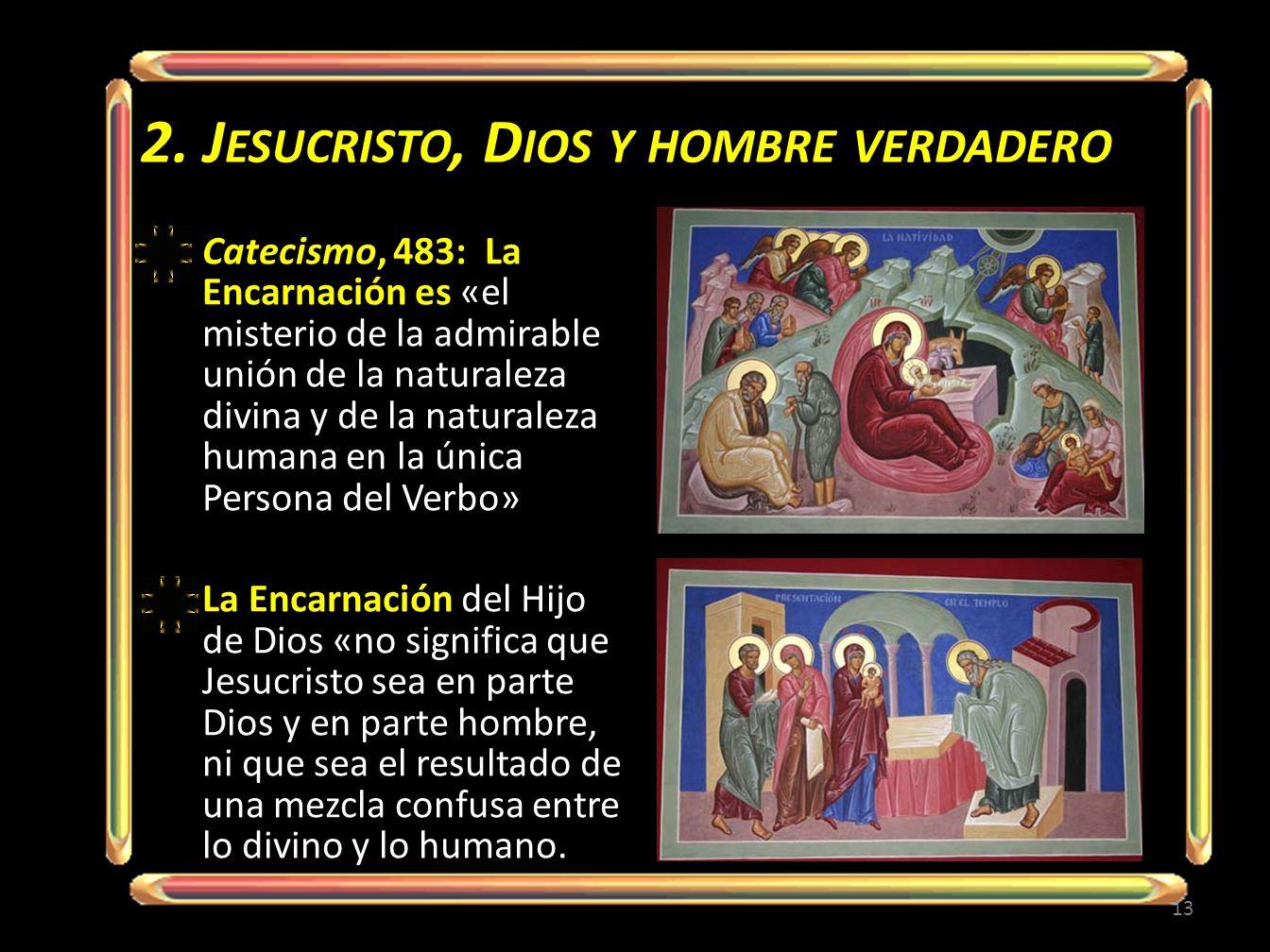 2. J ESUCRISTO, D IOS Y HOMBRE VERDADERO Catecismo, 483: La Encarnación es «el misterio de la admirable unión de la naturaleza divina y de la naturale
