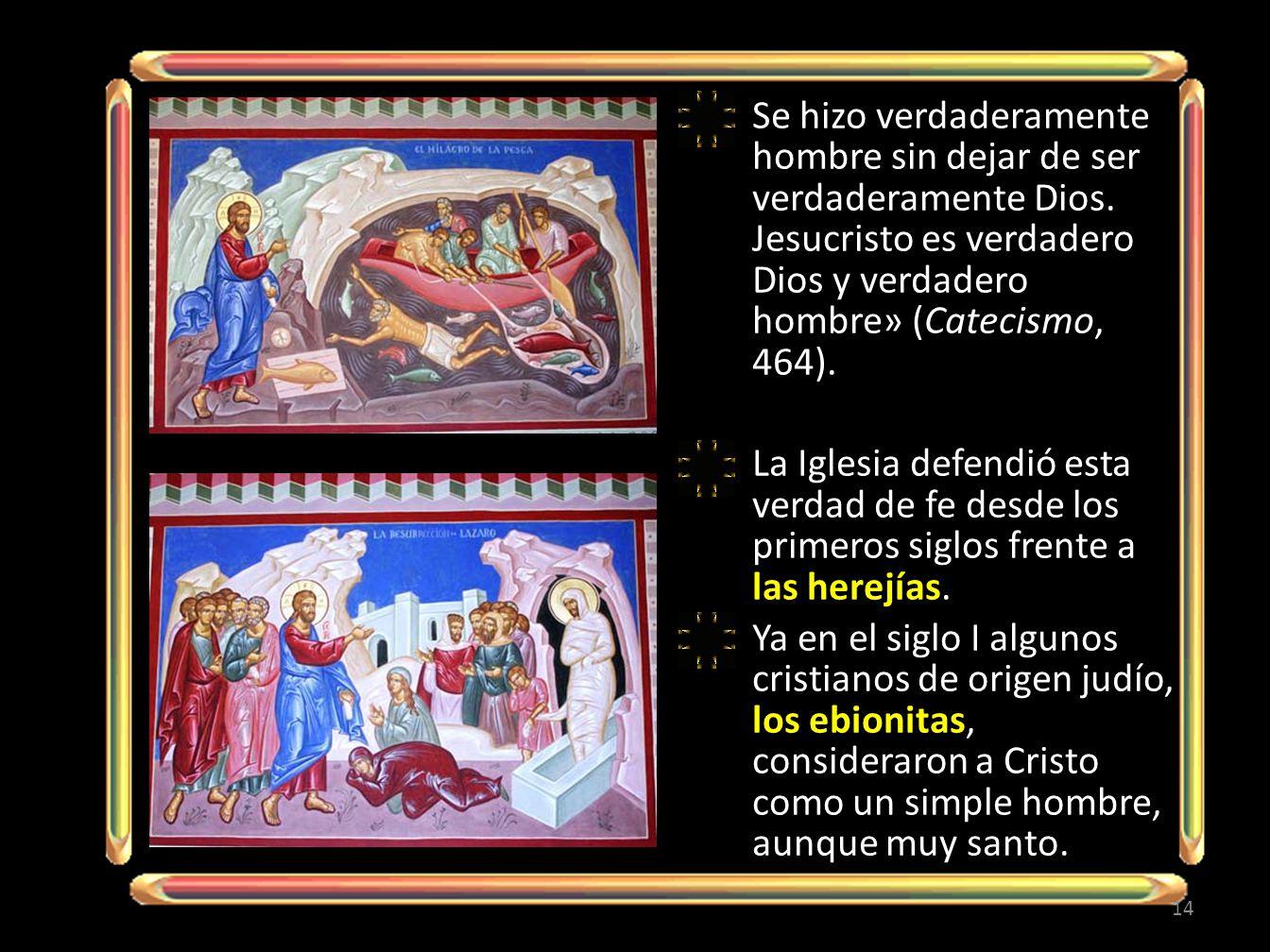 Se hizo verdaderamente hombre sin dejar de ser verdaderamente Dios. Jesucristo es verdadero Dios y verdadero hombre» (Catecismo, 464). La Iglesia defe