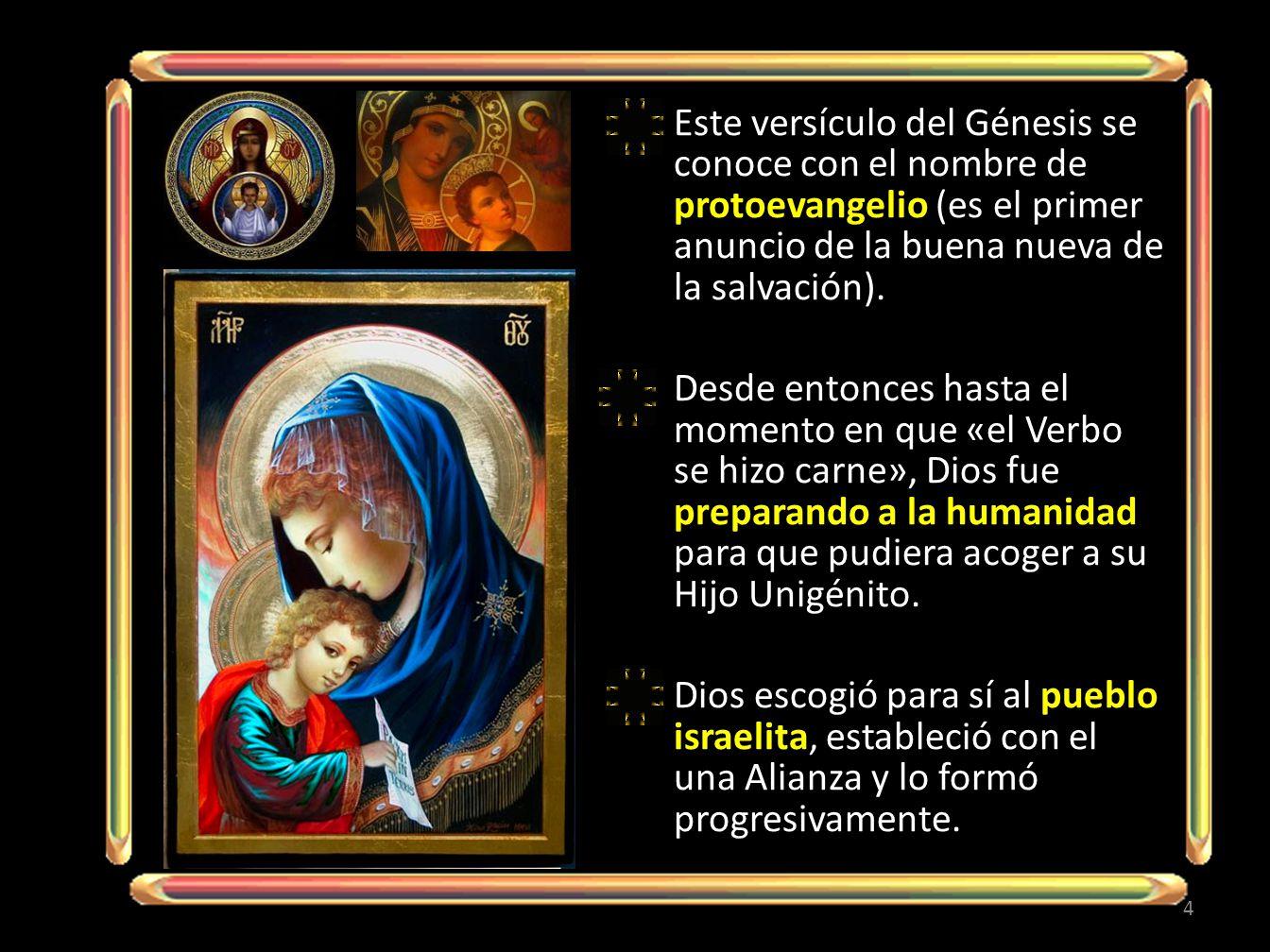 Este versículo del Génesis se conoce con el nombre de protoevangelio (es el primer anuncio de la buena nueva de la salvación).