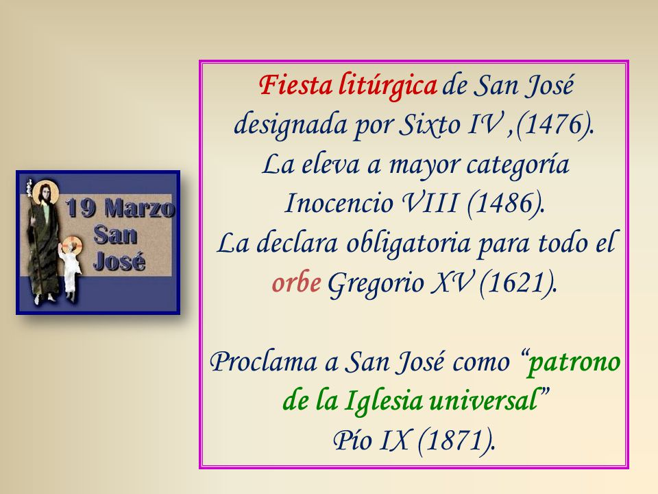 Fiesta litúrgica de San José designada por Sixto IV,(1476).