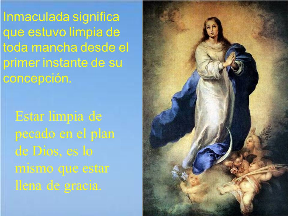 Inmaculada significa que estuvo limpia de toda mancha desde el primer instante de su concepción.