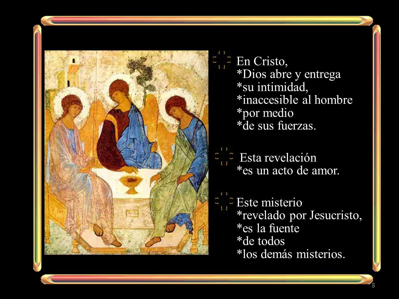 En Cristo, *Dios abre y entrega *su intimidad, *inaccesible al hombre *por medio *de sus fuerzas.