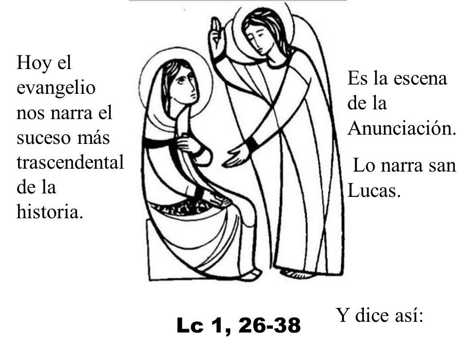 Es la escena de la Anunciación.Lo narra san Lucas.