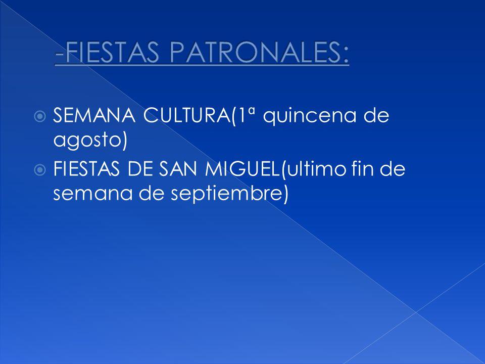 SEMANA CULTURA(1ª quincena de agosto) FIESTAS DE SAN MIGUEL(ultimo fin de semana de septiembre)
