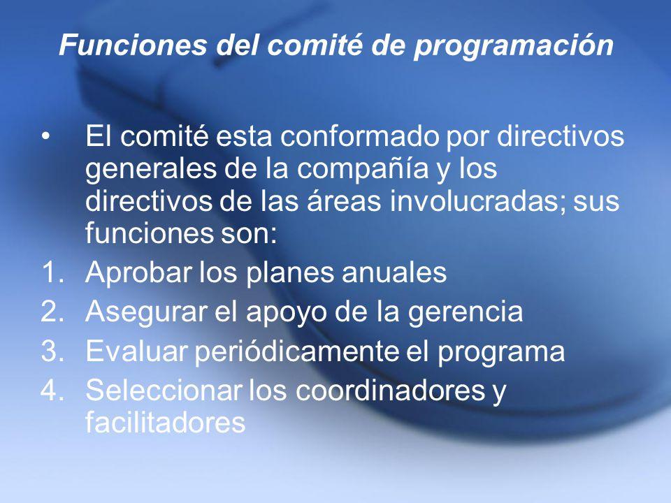 Funciones del comité de programación El comité esta conformado por directivos generales de la compañía y los directivos de las áreas involucradas; sus