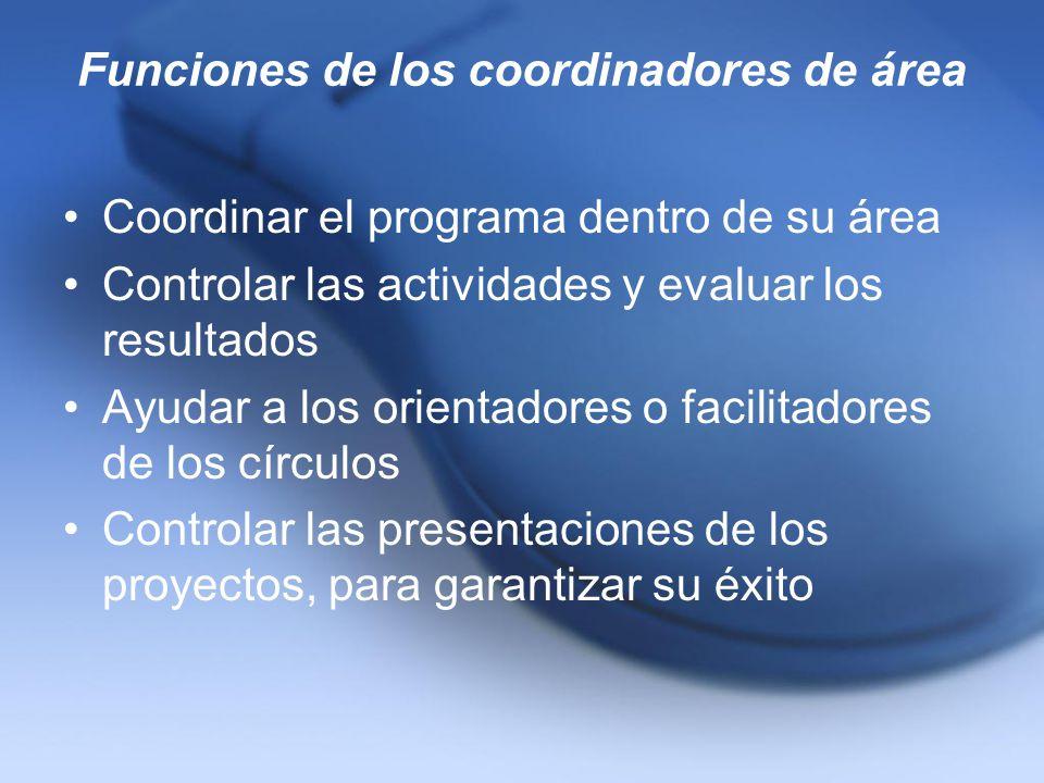 Funciones de los coordinadores de área Coordinar el programa dentro de su área Controlar las actividades y evaluar los resultados Ayudar a los orienta