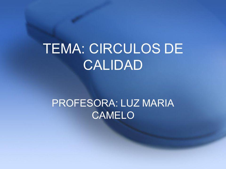 TEMA: CIRCULOS DE CALIDAD PROFESORA: LUZ MARIA CAMELO