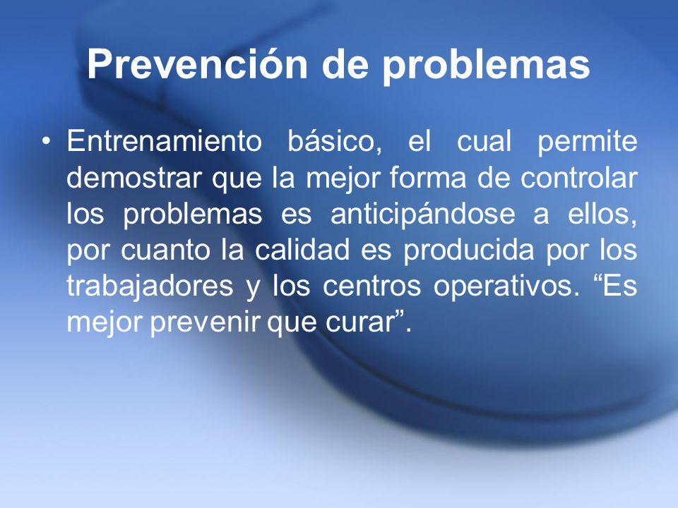 Prevención de problemas Entrenamiento básico, el cual permite demostrar que la mejor forma de controlar los problemas es anticipándose a ellos, por cu