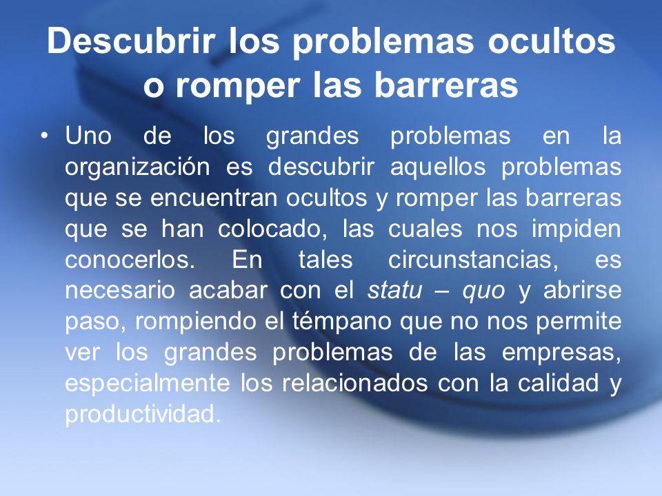 Descubrir los problemas ocultos o romper las barreras Uno de los grandes problemas en la organización es descubrir aquellos problemas que se encuentra