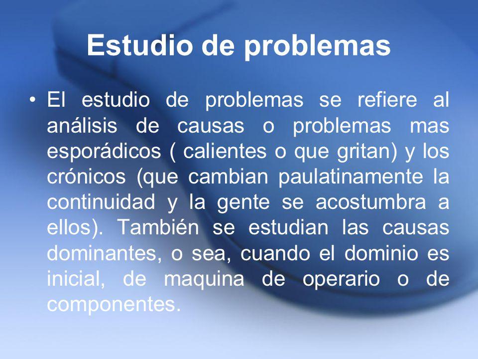 Estudio de problemas El estudio de problemas se refiere al análisis de causas o problemas mas esporádicos ( calientes o que gritan) y los crónicos (qu