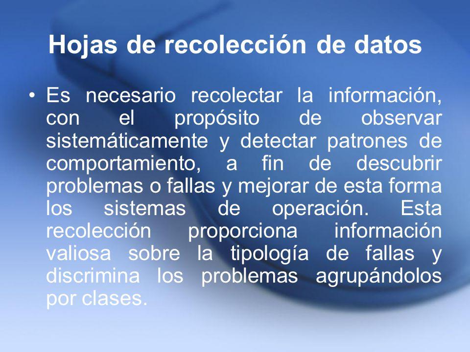 Hojas de recolección de datos Es necesario recolectar la información, con el propósito de observar sistemáticamente y detectar patrones de comportamie