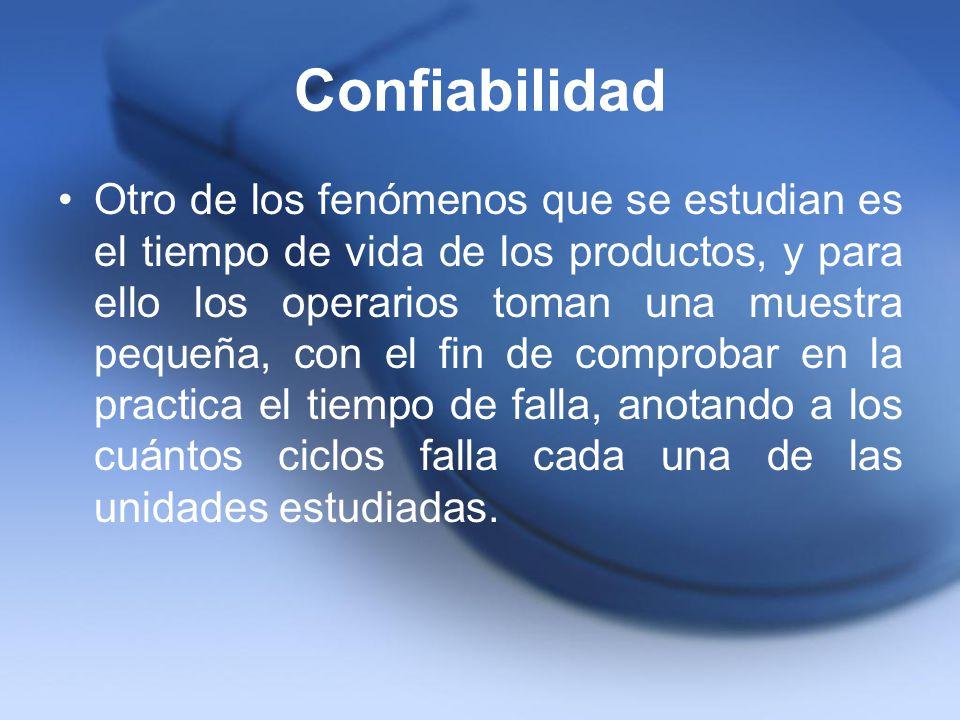 Confiabilidad Otro de los fenómenos que se estudian es el tiempo de vida de los productos, y para ello los operarios toman una muestra pequeña, con el
