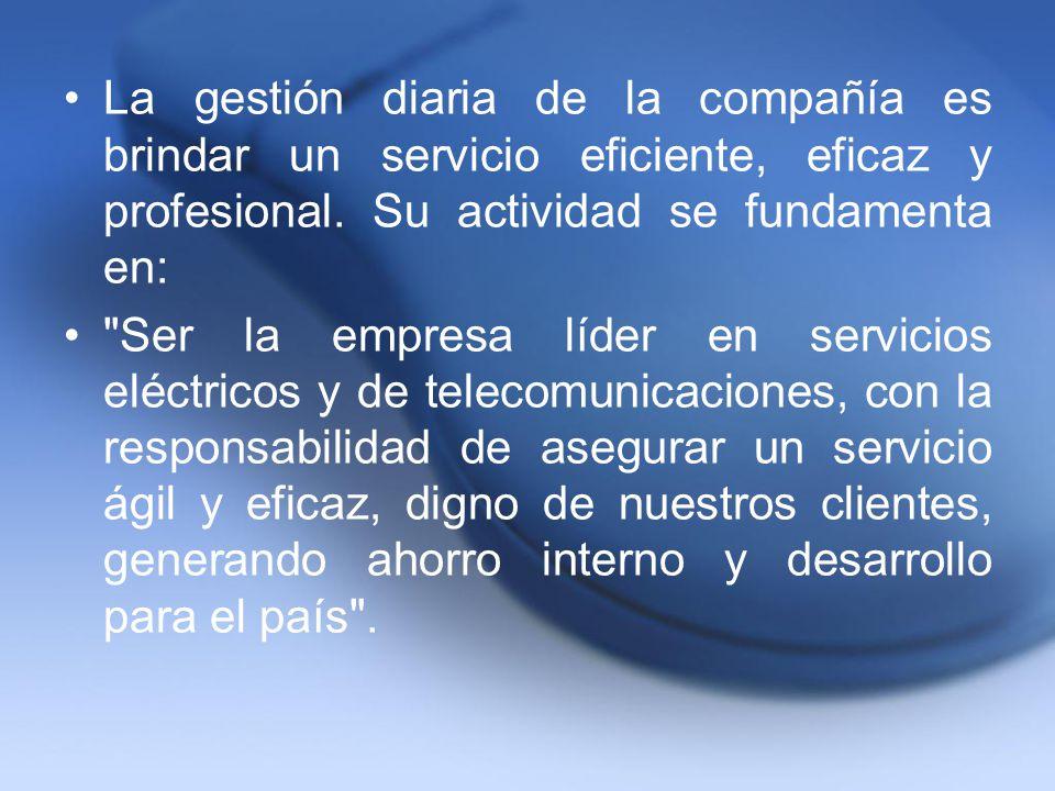 La gestión diaria de la compañía es brindar un servicio eficiente, eficaz y profesional. Su actividad se fundamenta en: