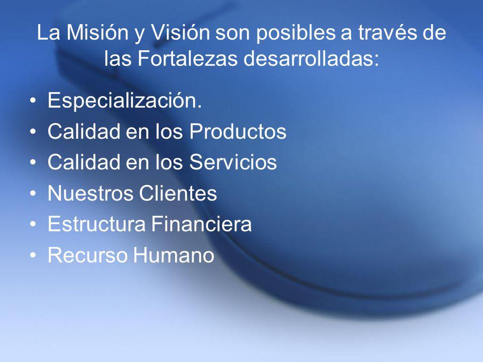 La Misión y Visión son posibles a través de las Fortalezas desarrolladas: Especialización. Calidad en los Productos Calidad en los Servicios Nuestros