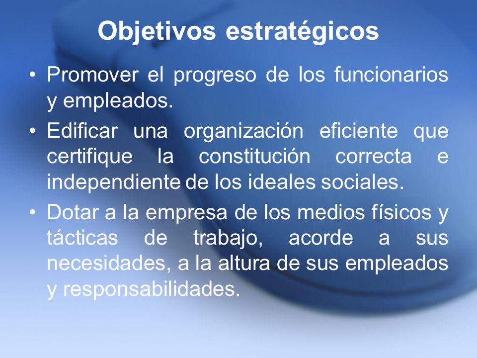 Objetivos estratégicos Promover el progreso de los funcionarios y empleados. Edificar una organización eficiente que certifique la constitución correc