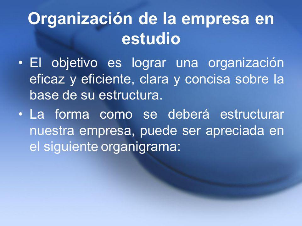 Organización de la empresa en estudio El objetivo es lograr una organización eficaz y eficiente, clara y concisa sobre la base de su estructura. La fo