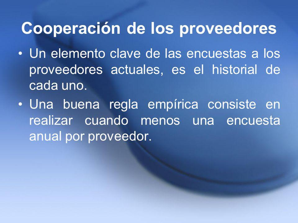 Cooperación de los proveedores Un elemento clave de las encuestas a los proveedores actuales, es el historial de cada uno. Una buena regla empírica co