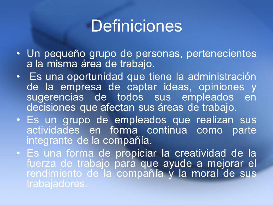 Definiciones Un pequeño grupo de personas, pertenecientes a la misma área de trabajo. Es una oportunidad que tiene la administración de la empresa de