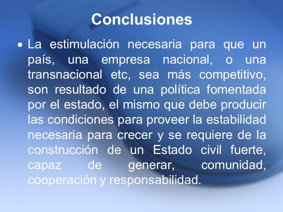 Conclusiones La estimulación necesaria para que un país, una empresa nacional, o una transnacional etc, sea más competitivo, son resultado de una polí
