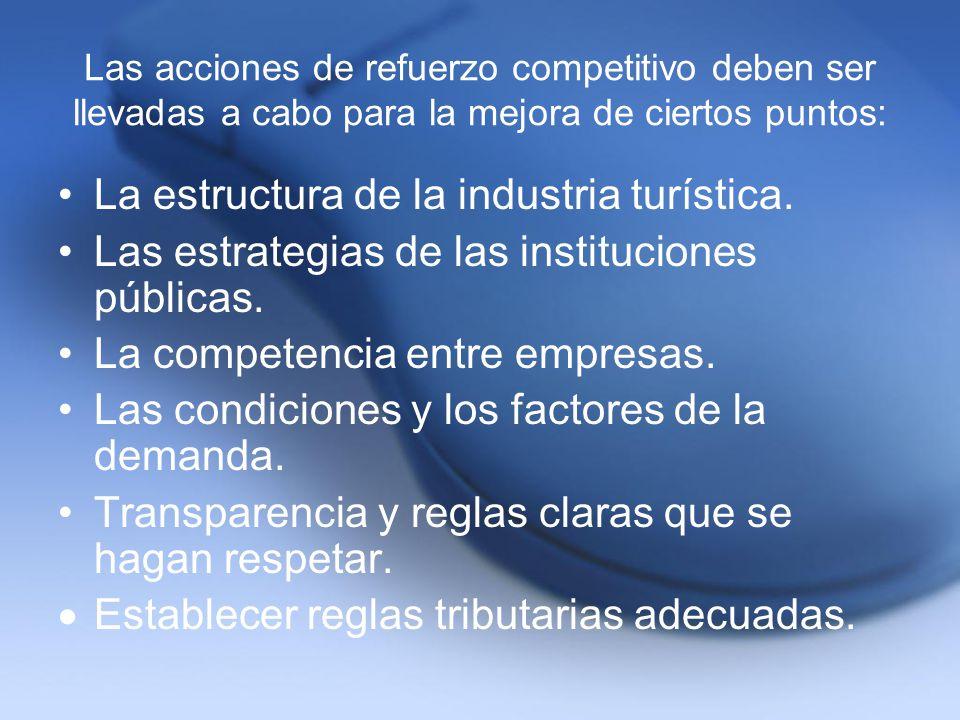 Las acciones de refuerzo competitivo deben ser llevadas a cabo para la mejora de ciertos puntos: La estructura de la industria turística. Las estrateg