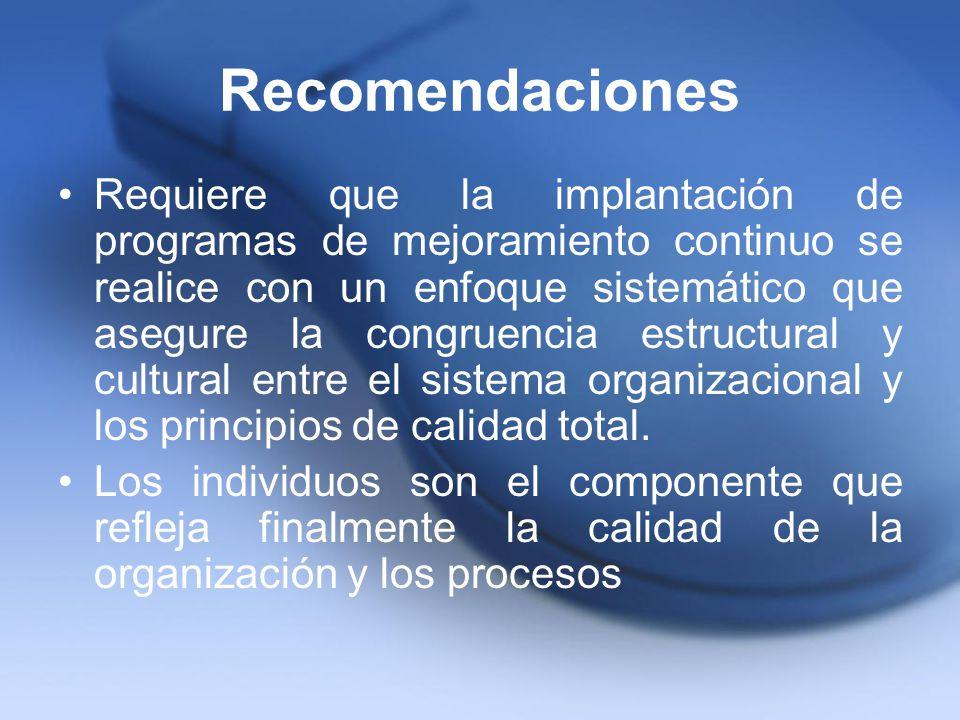 Recomendaciones Requiere que la implantación de programas de mejoramiento continuo se realice con un enfoque sistemático que asegure la congruencia es