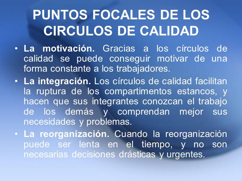 PUNTOS FOCALES DE LOS CIRCULOS DE CALIDAD La motivación. Gracias a los círculos de calidad se puede conseguir motivar de una forma constante a los tra