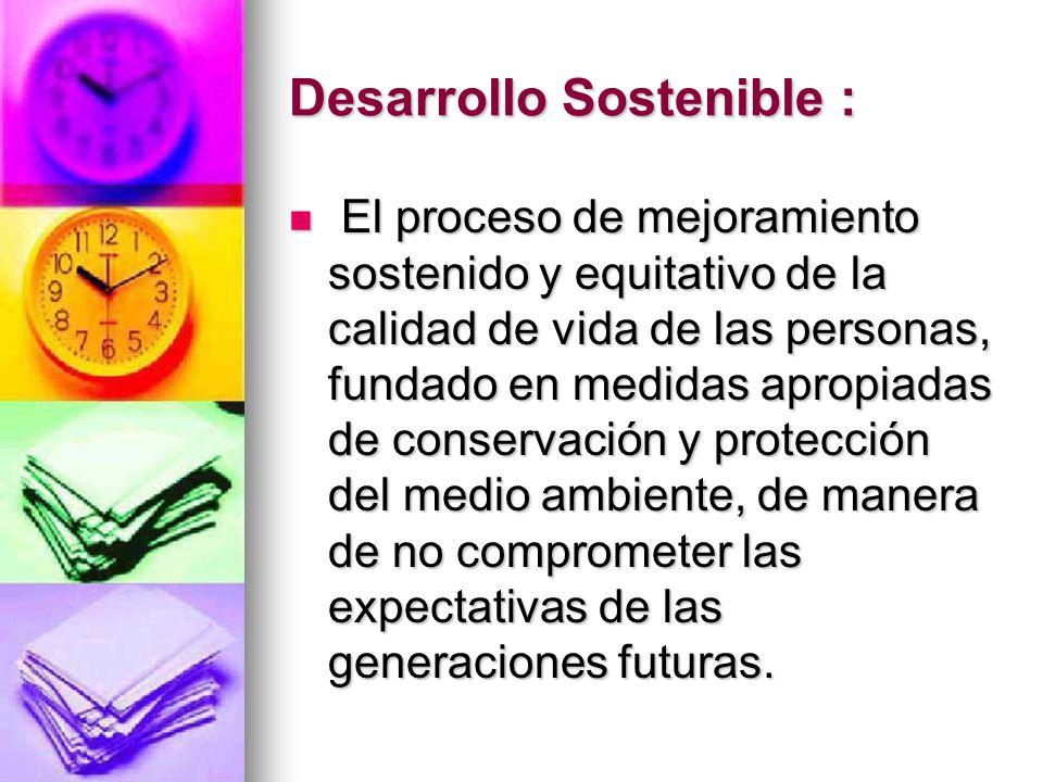 Desarrollo Sostenible : El proceso de mejoramiento sostenido y equitativo de la calidad de vida de las personas, fundado en medidas apropiadas de cons