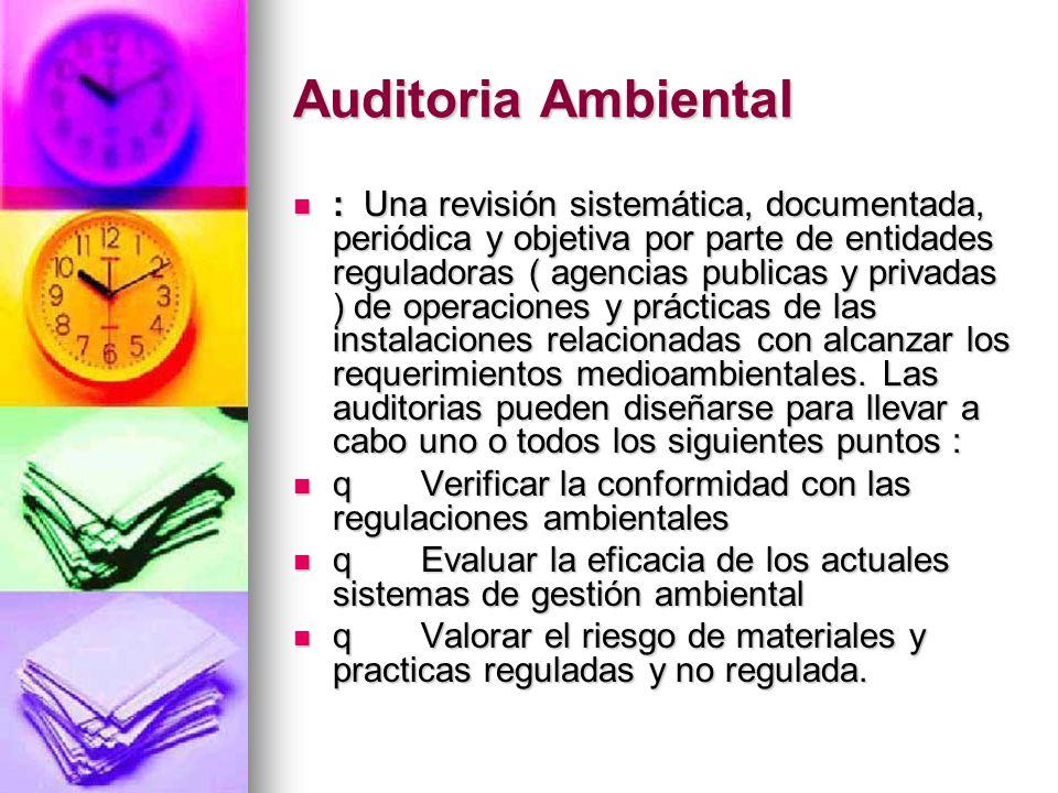 Auditoria Ambiental : Una revisión sistemática, documentada, periódica y objetiva por parte de entidades reguladoras ( agencias publicas y privadas )