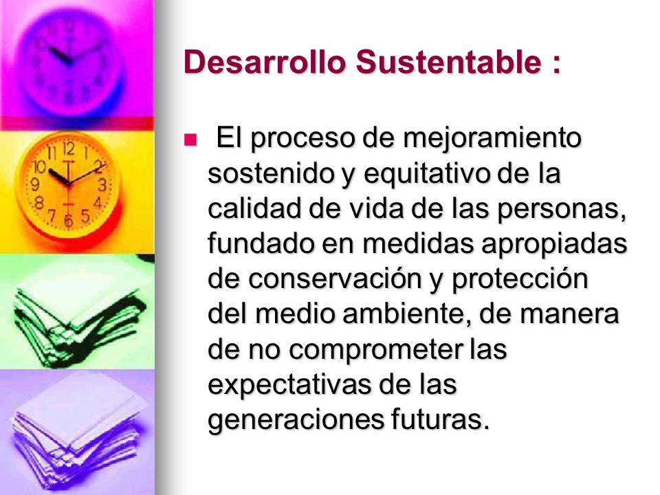 Desarrollo Sustentable : El proceso de mejoramiento sostenido y equitativo de la calidad de vida de las personas, fundado en medidas apropiadas de con