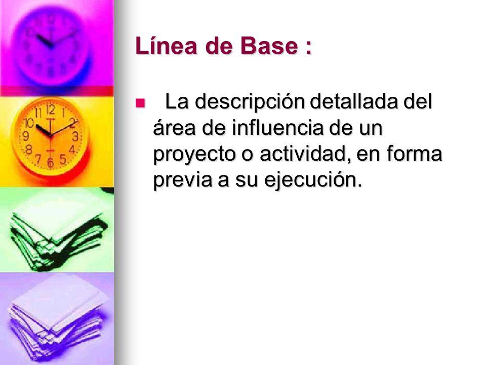 Línea de Base : La descripción detallada del área de influencia de un proyecto o actividad, en forma previa a su ejecución. La descripción detallada d
