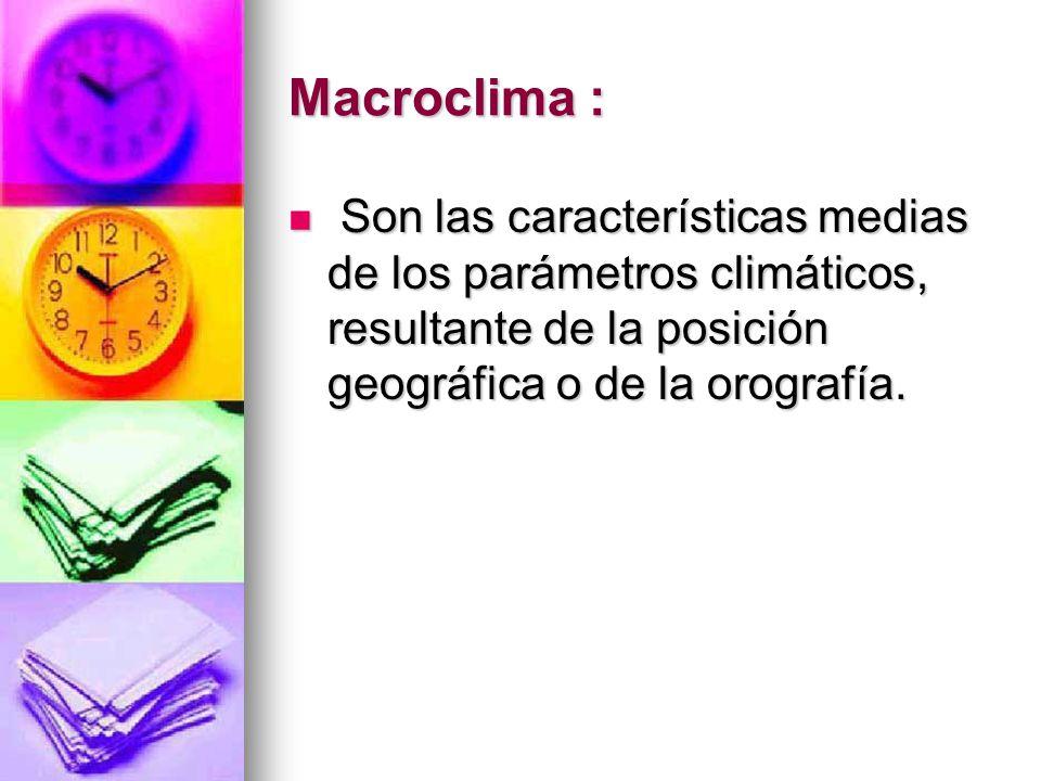 Macroclima : Son las características medias de los parámetros climáticos, resultante de la posición geográfica o de la orografía. Son las característi