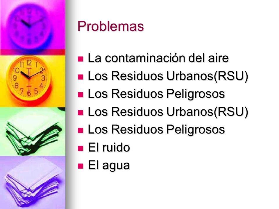 Problemas La contaminación del aire La contaminación del aire Los Residuos Urbanos(RSU) Los Residuos Urbanos(RSU) Los Residuos Peligrosos Los Residuos