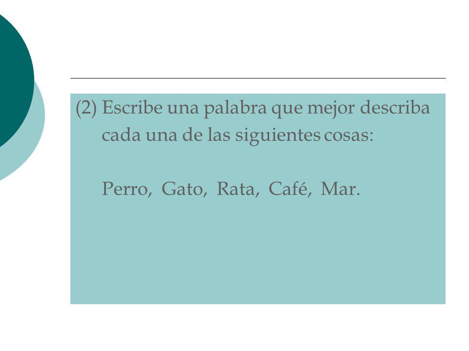 (2) Escribe una palabra que mejor describa cada una de las siguientes cosas: Perro, Gato, Rata, Café, Mar.