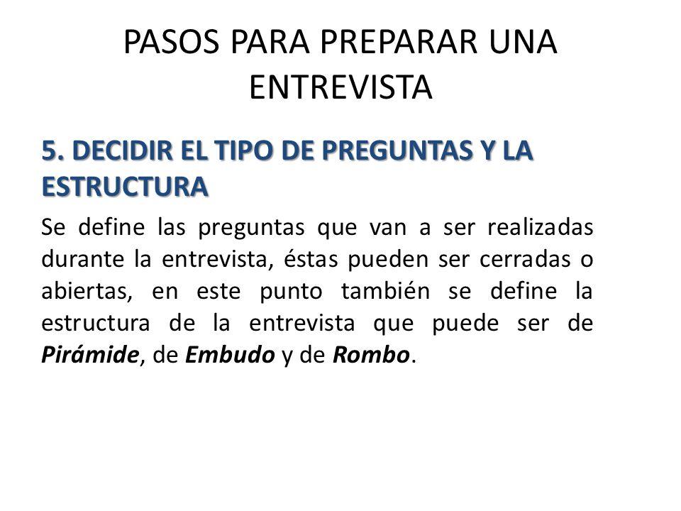 PASOS PARA PREPARAR UNA ENTREVISTA 5.