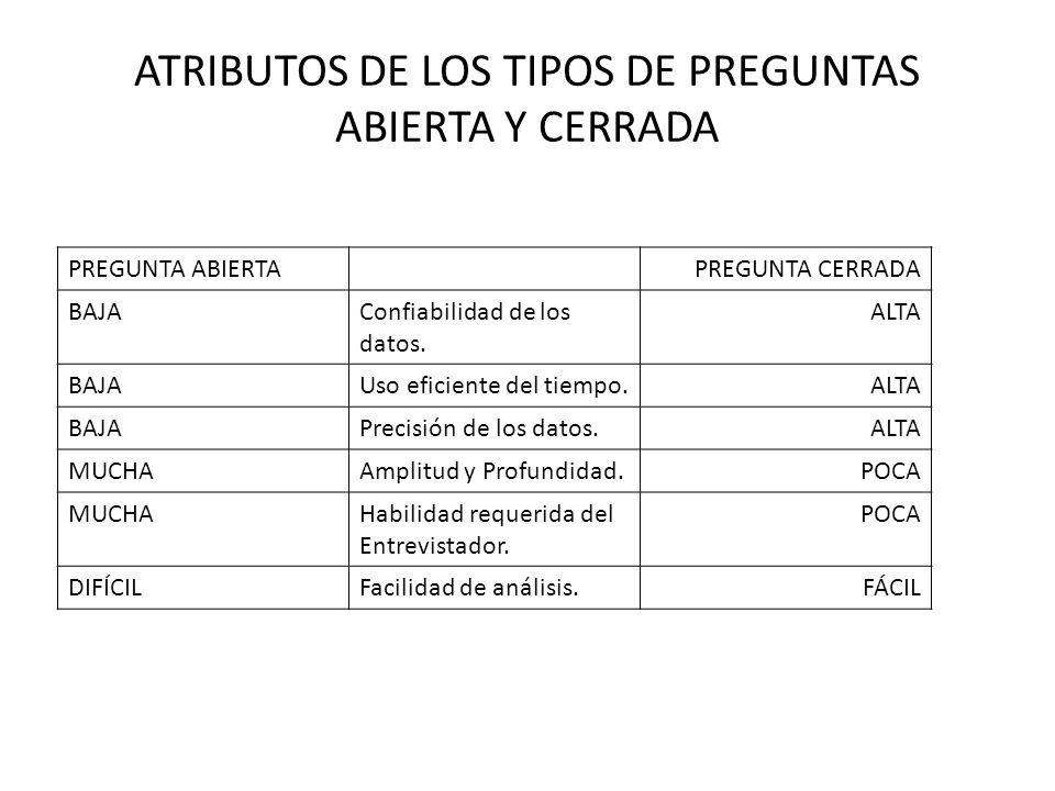 ATRIBUTOS DE LOS TIPOS DE PREGUNTAS ABIERTA Y CERRADA PREGUNTA ABIERTAPREGUNTA CERRADA BAJAConfiabilidad de los datos.