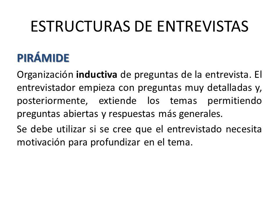 ESTRUCTURAS DE ENTREVISTAS PIRÁMIDE Organización inductiva de preguntas de la entrevista.