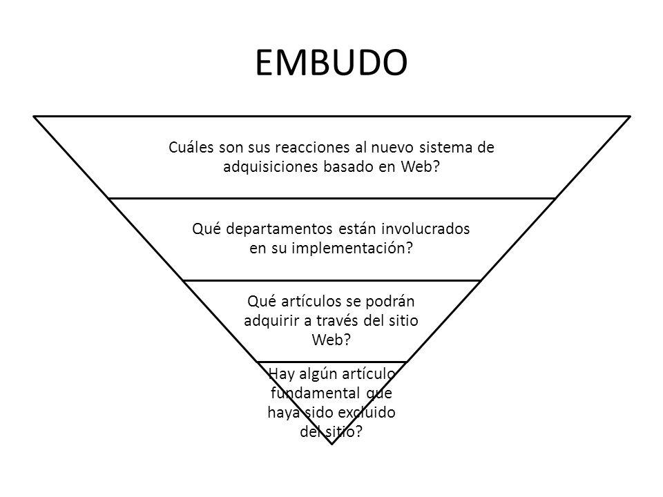 EMBUDO Cuáles son sus reacciones al nuevo sistema de adquisiciones basado en Web.