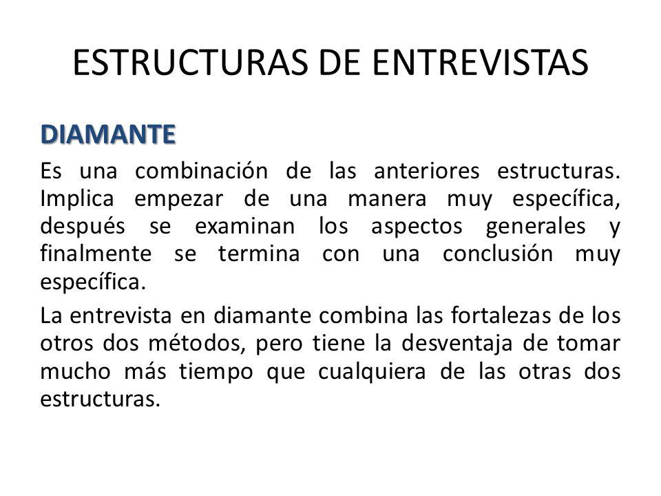 ESTRUCTURAS DE ENTREVISTAS DIAMANTE Es una combinación de las anteriores estructuras.