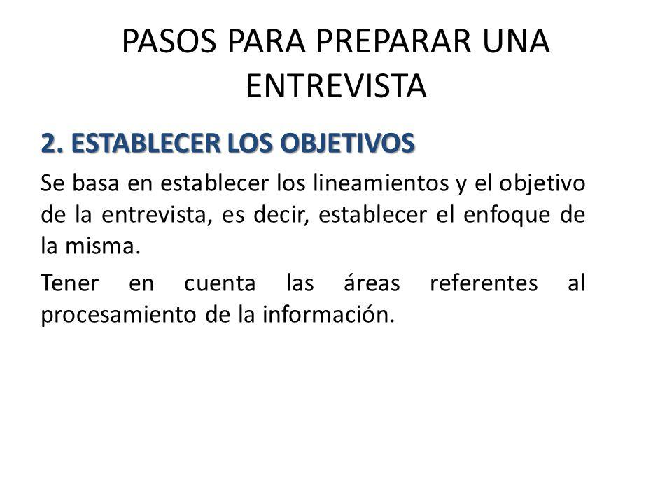 PASOS PARA PREPARAR UNA ENTREVISTA 2.